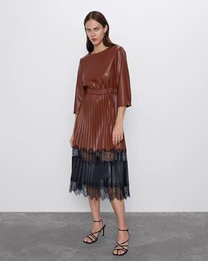 кожаное платье зара